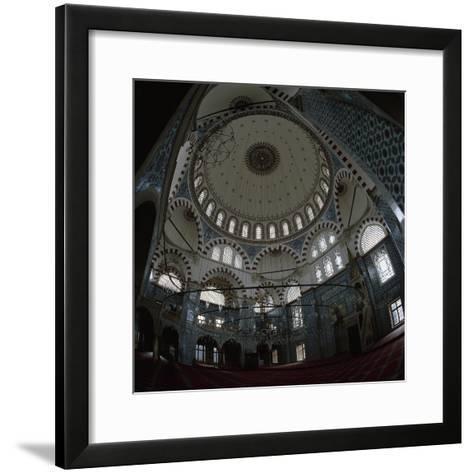 Turkey. Istanbul. Rustem Pasha Mosque. Built by Mimar Sinan Between 1561-1563. Inside- Sinan-Framed Art Print