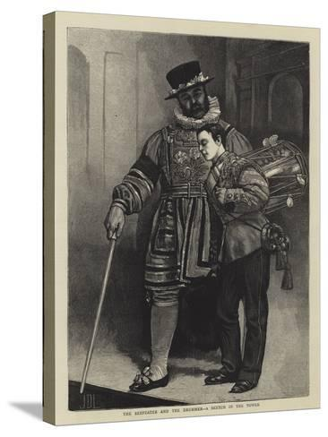 The Beefeater and the Drummer, a Sketch in the Tower-Sir James Dromgole Linton-Stretched Canvas Print