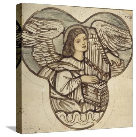 Design for Stained Glass in Lyndhurst Church: an Angel Organist, 1886-Edward Burne-Jones-Stretched Canvas Print