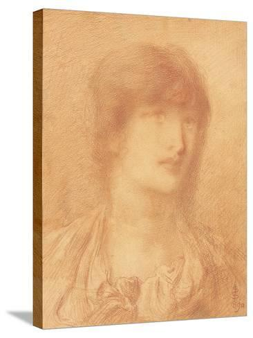 Head of a Young Girl, 1890 (Red Chalk on Buff Paper)-Simeon Solomon-Stretched Canvas Print