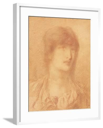 Head of a Young Girl, 1890 (Red Chalk on Buff Paper)-Simeon Solomon-Framed Art Print