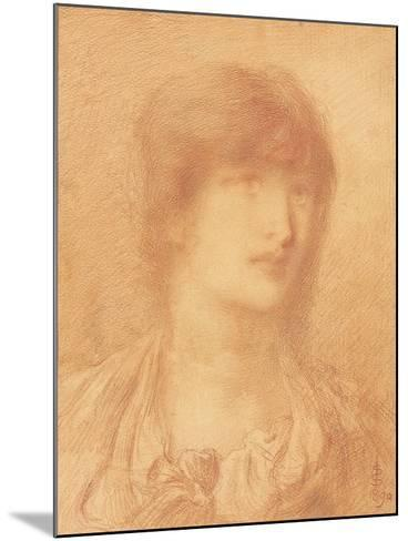Head of a Young Girl, 1890 (Red Chalk on Buff Paper)-Simeon Solomon-Mounted Giclee Print