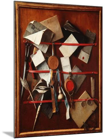 Feigned Letter Rack with Writing Implements, C.1655-Samuel van Hoogstraten-Mounted Giclee Print