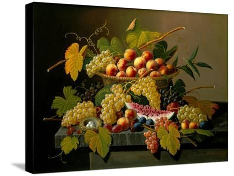 Still Life with a Basket of Fruit, 19th Century-Severin Roesen-Stretched Canvas Print