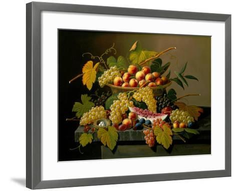 Still Life with a Basket of Fruit, 19th Century-Severin Roesen-Framed Art Print