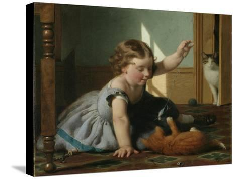 Girl and Kitten-Seymour Joseph Guy-Stretched Canvas Print