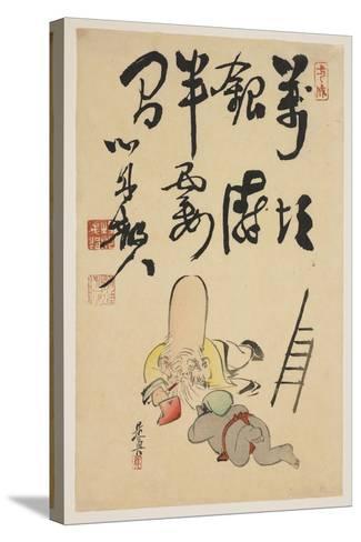 Fukurokuju and Daikoku Gods-Shibata Zeshin-Stretched Canvas Print