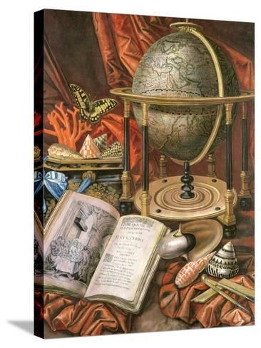 Still Life with a Globe, Books, Shells and Corals-Simon Renard De Saint-andre-Stretched Canvas Print