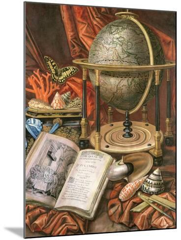 Still Life with a Globe, Books, Shells and Corals-Simon Renard De Saint-andre-Mounted Giclee Print