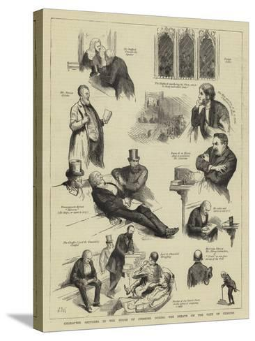 Character Sketches in the House of Commons During the Debate on the Vote of Censure-Sydney Prior Hall-Stretched Canvas Print
