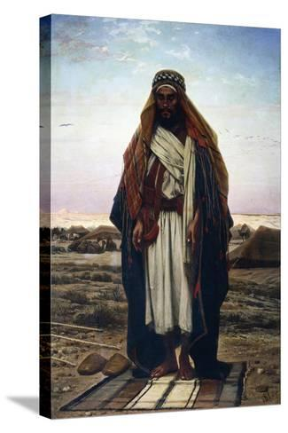 The Prayer in the Desert (Bedouin in Prayer), 1876-Stephen Ussi-Stretched Canvas Print