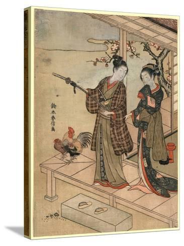 Engawa No Wakashu to Onna-Suzuki Harunobu-Stretched Canvas Print