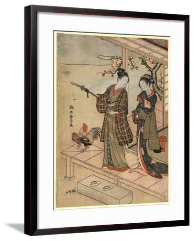 Engawa No Wakashu to Onna-Suzuki Harunobu-Framed Art Print