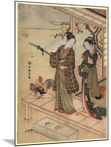 Engawa No Wakashu to Onna-Suzuki Harunobu-Mounted Giclee Print
