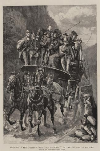 Tourists in the Western Highlands, Springing a Hill in the Pass of Melfort-Sydney Prior Hall-Stretched Canvas Print