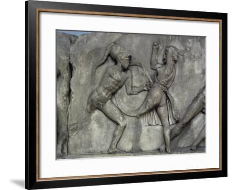 Mausoleum at Halicarnassus, Combat with the Amazons- Skopas of Paros-Framed Art Print