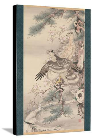 Pair of Hawks with Branch and Blossoms-Soga Shohaku-Stretched Canvas Print