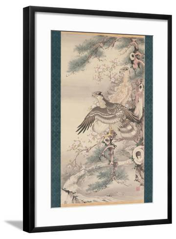 Pair of Hawks with Branch and Blossoms-Soga Shohaku-Framed Art Print