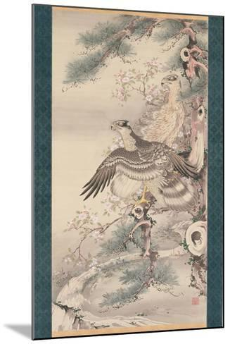 Pair of Hawks with Branch and Blossoms-Soga Shohaku-Mounted Giclee Print