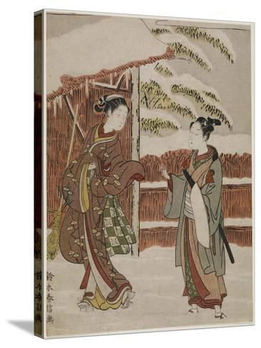 Mitate of a Scene from the Kabuki Play Women's Version of Ptted Trees, C. 1768-Suzuki Harunobu-Stretched Canvas Print