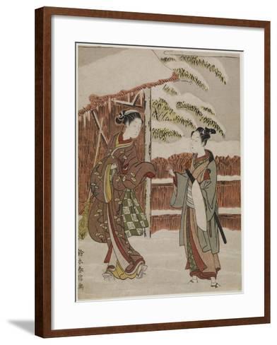 Mitate of a Scene from the Kabuki Play Women's Version of Ptted Trees, C. 1768-Suzuki Harunobu-Framed Art Print
