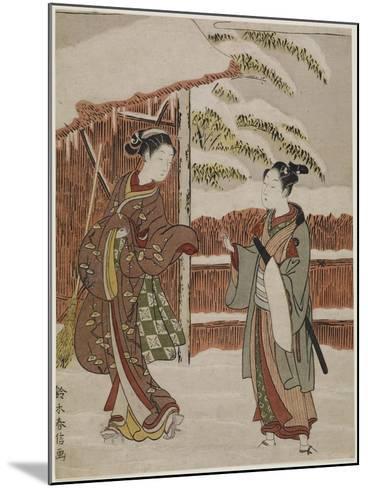 Mitate of a Scene from the Kabuki Play Women's Version of Ptted Trees, C. 1768-Suzuki Harunobu-Mounted Giclee Print