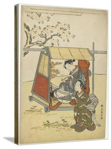Young Woman Viewing Cherry Blossoms as a Mitate of Lady Nakanokimi, C. 1767-Suzuki Harunobu-Stretched Canvas Print