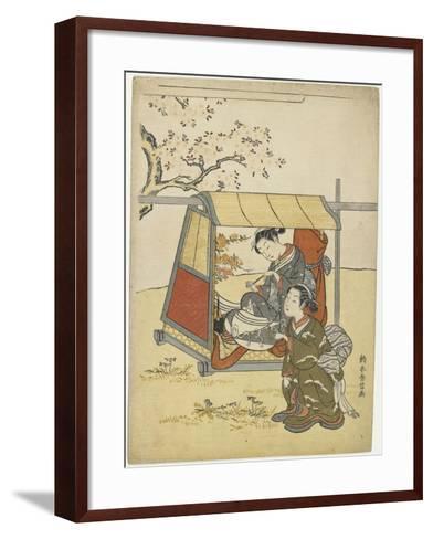 Young Woman Viewing Cherry Blossoms as a Mitate of Lady Nakanokimi, C. 1767-Suzuki Harunobu-Framed Art Print