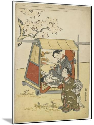 Young Woman Viewing Cherry Blossoms as a Mitate of Lady Nakanokimi, C. 1767-Suzuki Harunobu-Mounted Giclee Print