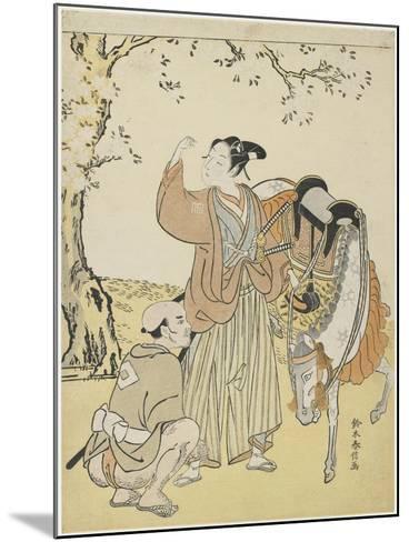 Young Samurai Viewing Cherry Blossoms as a Mitate of Prince Kaoru, C. 1767-Suzuki Harunobu-Mounted Giclee Print