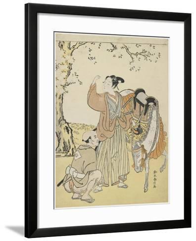 Young Samurai Viewing Cherry Blossoms as a Mitate of Prince Kaoru, C. 1767-Suzuki Harunobu-Framed Art Print