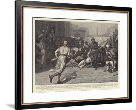 A Scramble for the Khedive's Backsheesh, a Scene at the Procession of the Holy Carpet Through Cairo-Sydney Prior Hall-Framed Art Print