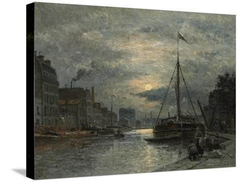 The Saint-Martin Canal at Moonlight; Le Canal Saint-Martin Au Clair De Lune-Stanislas Victor Edouard Lepine-Stretched Canvas Print