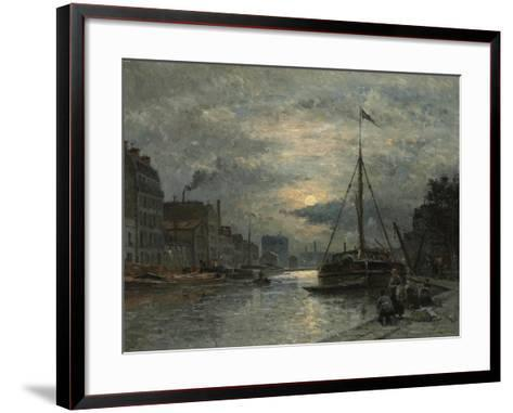 The Saint-Martin Canal at Moonlight; Le Canal Saint-Martin Au Clair De Lune-Stanislas Victor Edouard Lepine-Framed Art Print