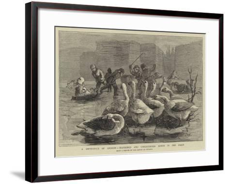 A Difference of Opinion, Feathered and Unfeathered Bipeds in the Frost-Sydney Prior Hall-Framed Art Print