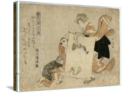 Oshikyo-Teisai Hokuba-Stretched Canvas Print