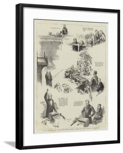 The Opening of the New Parliament, Notes in the House of Commons-Sydney Prior Hall-Framed Art Print