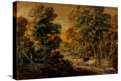 Wooded Landscape with Herdsman and Cattle, C.1770 (Black and White Chalk, Varnished)-Thomas Gainsborough-Stretched Canvas Print