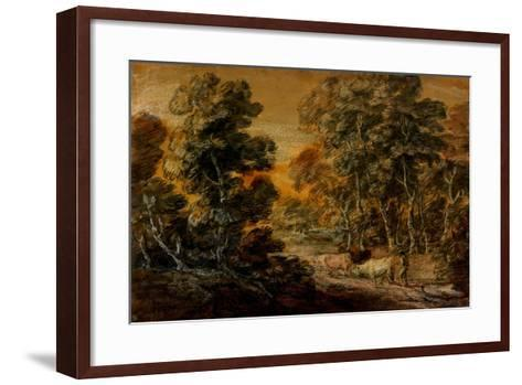 Wooded Landscape with Herdsman and Cattle, C.1770 (Black and White Chalk, Varnished)-Thomas Gainsborough-Framed Art Print