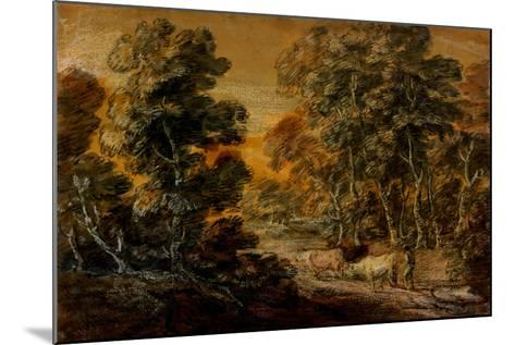 Wooded Landscape with Herdsman and Cattle, C.1770 (Black and White Chalk, Varnished)-Thomas Gainsborough-Mounted Giclee Print