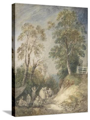 Wooded Landscape with Gypsy Encampment, C.1760-65 (W/C and Gouache over Pencil and Chalk on Paper)-Thomas Gainsborough-Stretched Canvas Print