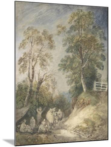 Wooded Landscape with Gypsy Encampment, C.1760-65 (W/C and Gouache over Pencil and Chalk on Paper)-Thomas Gainsborough-Mounted Giclee Print