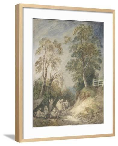 Wooded Landscape with Gypsy Encampment, C.1760-65 (W/C and Gouache over Pencil and Chalk on Paper)-Thomas Gainsborough-Framed Art Print