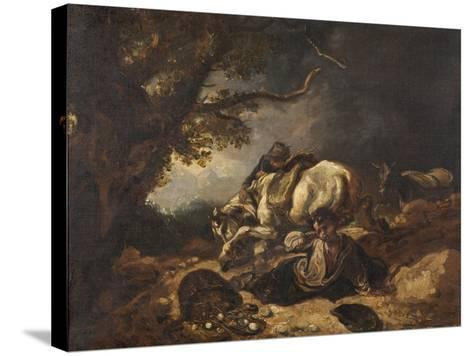 A Mishap to Market Eggs-Thomas Barker-Stretched Canvas Print