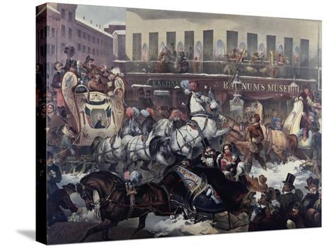 Sleighing in New York 1855-Thomas Benecke-Stretched Canvas Print