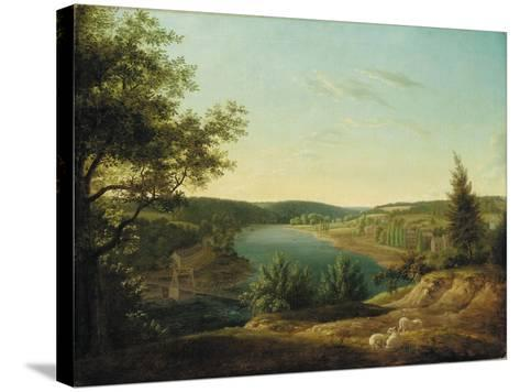View of the Chain Bridge and Falls of the Schuylkill, Five Miles from Philadelphia-Thomas Birch-Stretched Canvas Print