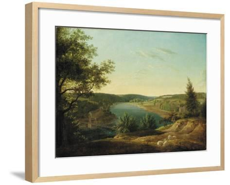 View of the Chain Bridge and Falls of the Schuylkill, Five Miles from Philadelphia-Thomas Birch-Framed Art Print