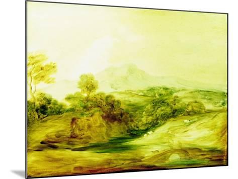 Wooded River Landscape with Figures on a Bridge, C.1783-4 (Paint on Glass)-Thomas Gainsborough-Mounted Giclee Print