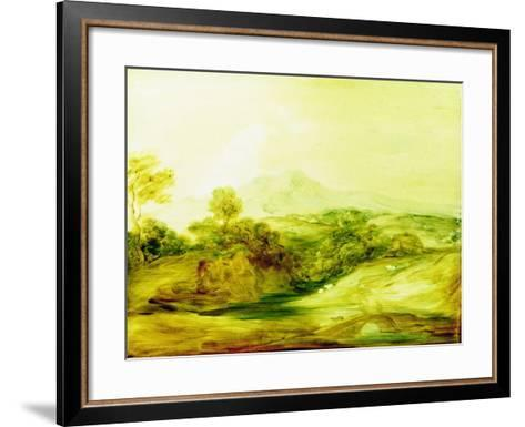 Wooded River Landscape with Figures on a Bridge, C.1783-4 (Paint on Glass)-Thomas Gainsborough-Framed Art Print