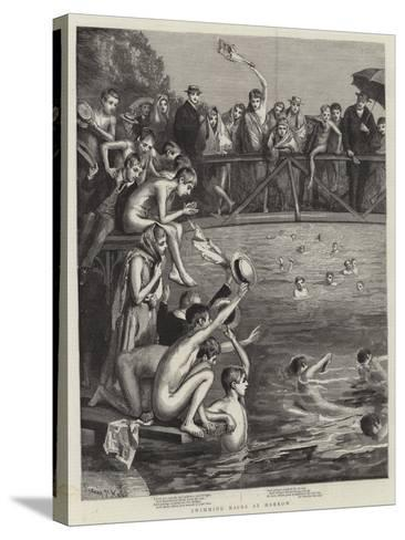 Swimming Races at Harrow-Sydney Prior Hall-Stretched Canvas Print